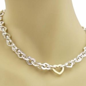Rare Tiffany & Co 18k and .925 heart link necklace